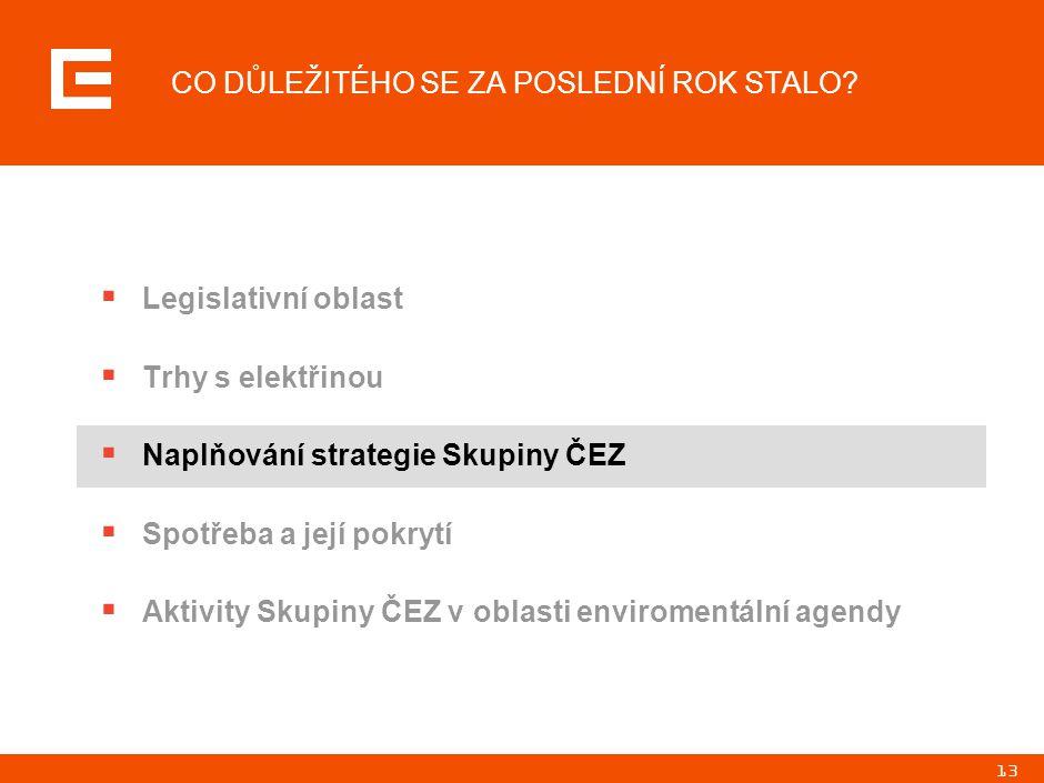 13 CO DŮLEŽITÉHO SE ZA POSLEDNÍ ROK STALO?  Legislativní oblast  Trhy s elektřinou  Naplňování strategie Skupiny ČEZ  Spotřeba a její pokrytí  Ak