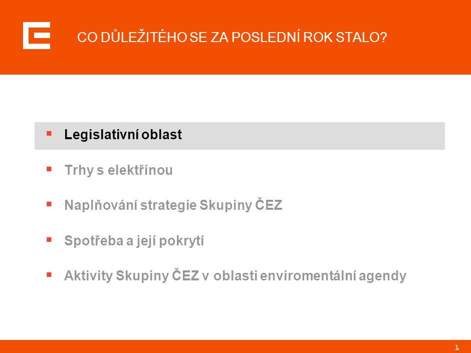 1 CO DŮLEŽITÉHO SE ZA POSLEDNÍ ROK STALO?  Legislativní oblast  Trhy s elektřinou  Naplňování strategie Skupiny ČEZ  Spotřeba a její pokrytí  Akt