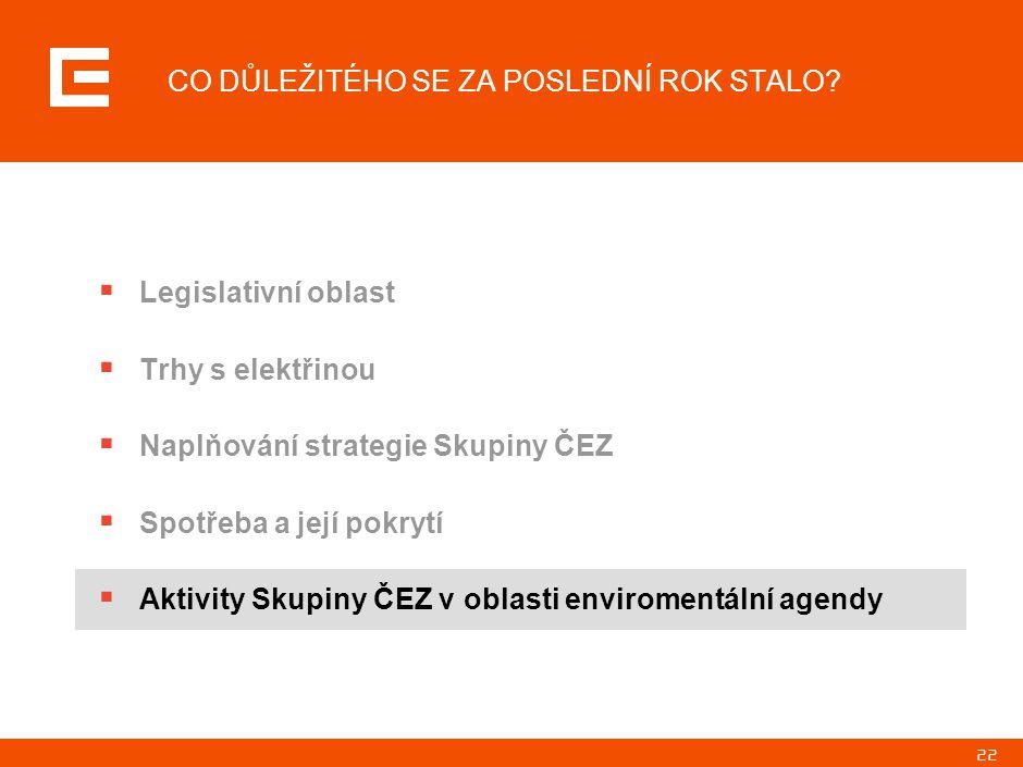 22 CO DŮLEŽITÉHO SE ZA POSLEDNÍ ROK STALO?  Legislativní oblast  Trhy s elektřinou  Naplňování strategie Skupiny ČEZ  Spotřeba a její pokrytí  Ak