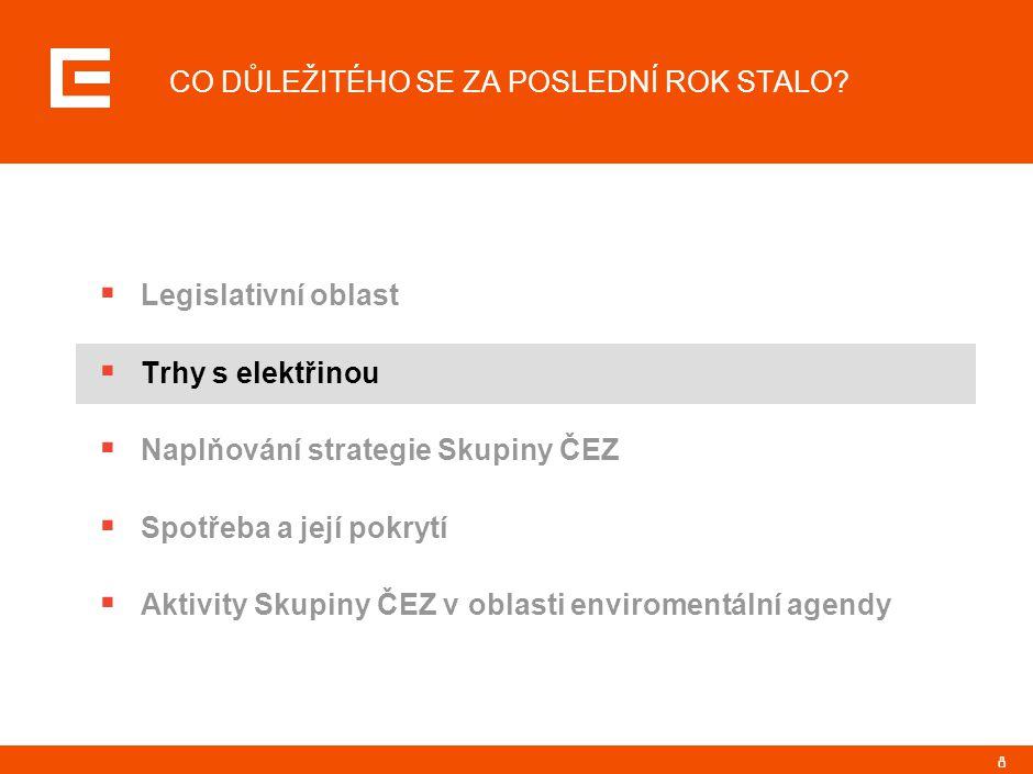 8 CO DŮLEŽITÉHO SE ZA POSLEDNÍ ROK STALO?  Legislativní oblast  Trhy s elektřinou  Naplňování strategie Skupiny ČEZ  Spotřeba a její pokrytí  Akt