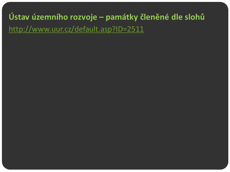 Ústav územního rozvoje – památky členěné dle slohů http://www.uur.cz/default.asp?ID=2511