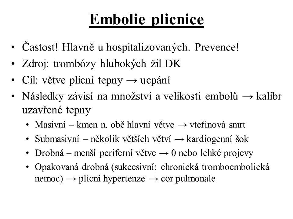 Embolie plicnice Častost! Hlavně u hospitalizovaných. Prevence! Zdroj: trombózy hlubokých žil DK Cíl: větve plicní tepny → ucpání Následky závisí na m