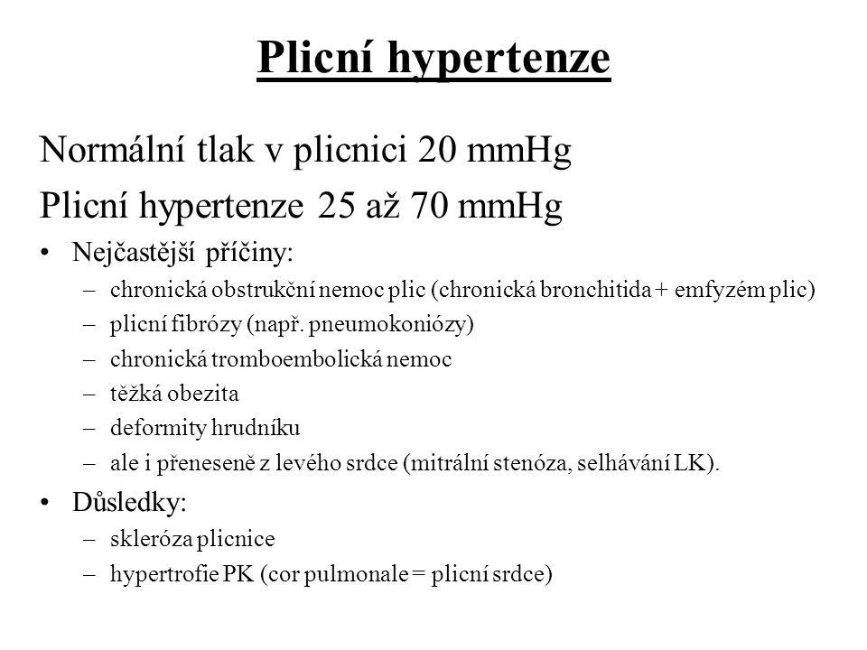 Plicní hypertenze Normální tlak v plicnici 20 mmHg Plicní hypertenze 25 až 70 mmHg Nejčastější příčiny: –chronická obstrukční nemoc plic (chronická br