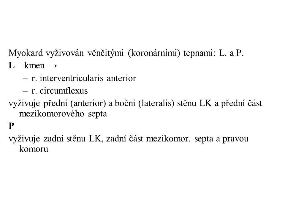Myokard vyživován věnčitými (koronárními) tepnami: L. a P. L – kmen → –r. interventricularis anterior –r. circumflexus vyživuje přední (anterior) a bo