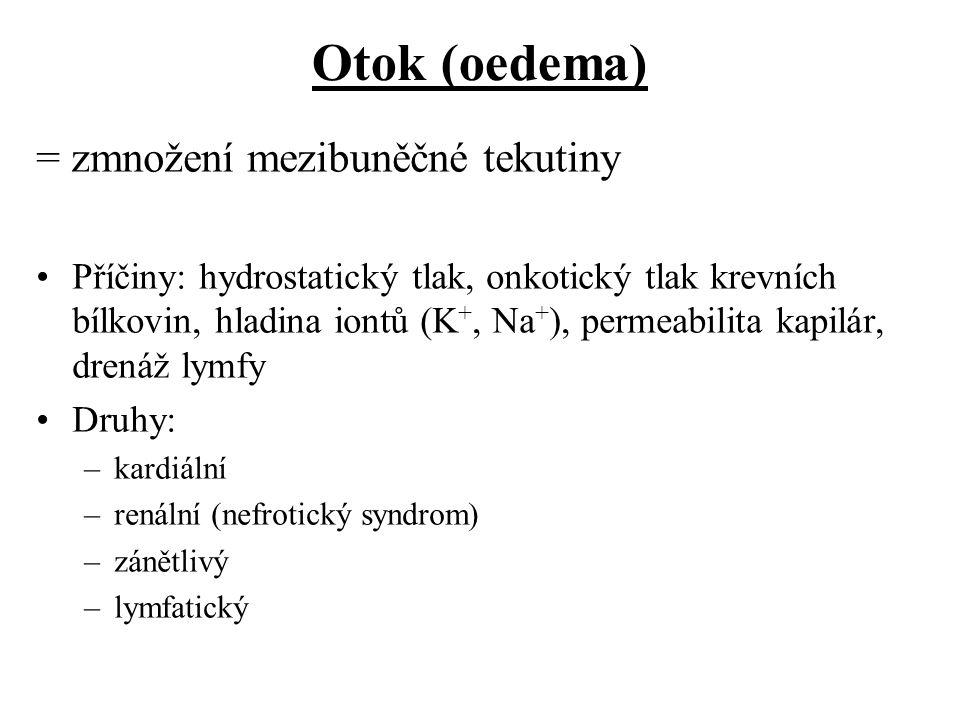 Otok (oedema) = zmnožení mezibuněčné tekutiny Příčiny: hydrostatický tlak, onkotický tlak krevních bílkovin, hladina iontů (K +, Na + ), permeabilita
