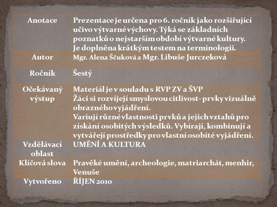 Nástěnné jeskynní malby Primitivní plastiky a sošky – keramika Prozatím ještě nesloužilo k estetickému využití, nýbrž k rituálním účelům http://upload.wikimedia.org/wikipedia/commons/9/95/Pet%C5%99kovick% C3%A1_venu%C5%A1e.jpg