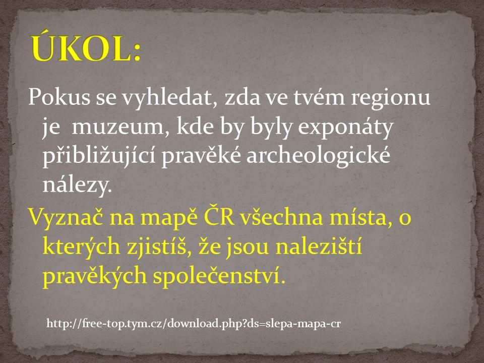 Pokus se vyhledat, zda ve tvém regionu je muzeum, kde by byly exponáty přibližující pravěké archeologické nálezy. Vyznač na mapě ČR všechna místa, o k