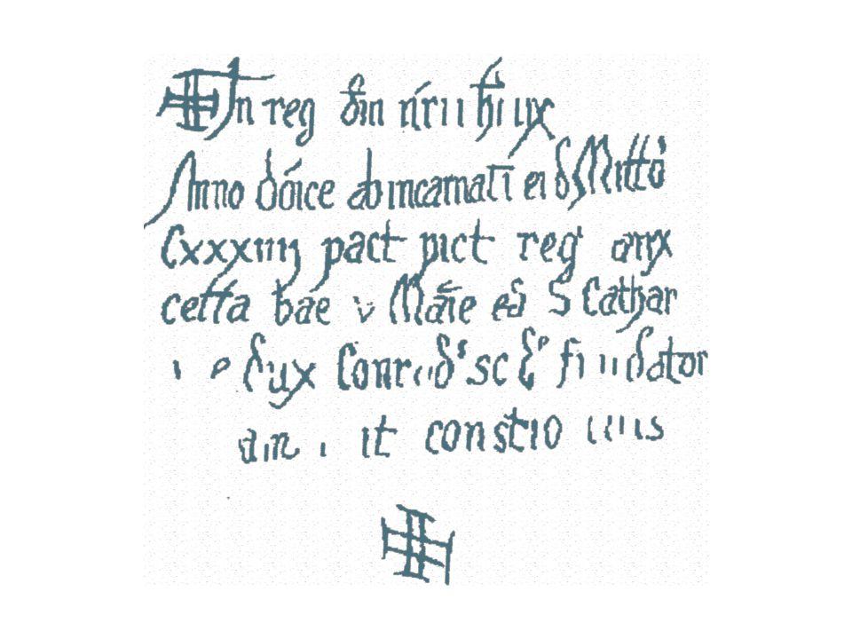 Překlad rytého nástěnného nápisu ╬ In reg(no) d(omi)ni n(ost)ri ih(es)u X(risti) V království Pána našeho Ježíše KristaAnno do(min)ice ab in carnati(onis) ei(us)d(em) Mill(esim)o Roku Páně od narození téhož tisícího Cxxxiiii p(er)act(is) pict(uris) reg(um) aux(it) stého třicátého čtvrtého provedenými malbami králů zvelebil cella(m) b(e)a(t)e v(irginis) Ma(r)ie et S.