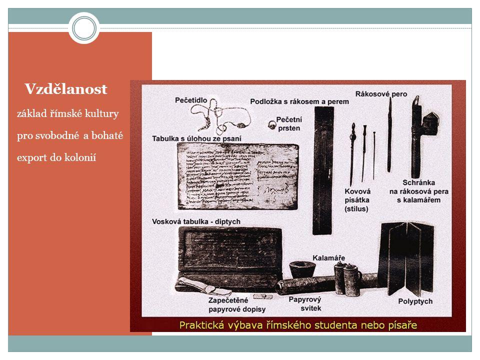 Vzdělanost základ římské kultury pro svobodné a bohaté export do kolonií