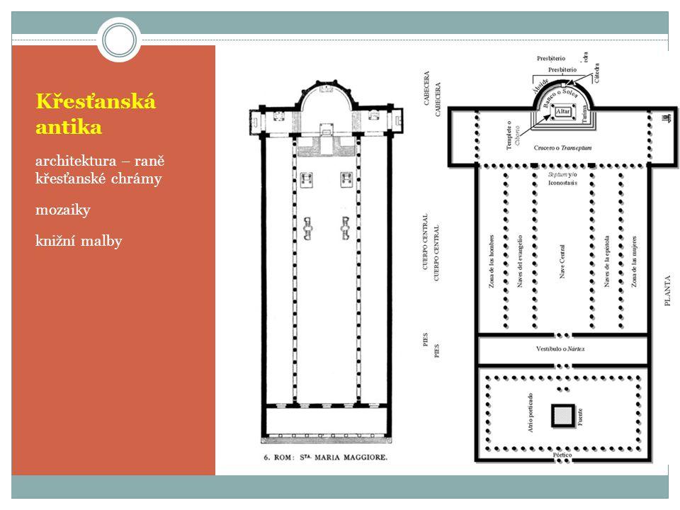 Křesťanská antika architektura – raně křesťanské chrámy mozaiky knižní malby