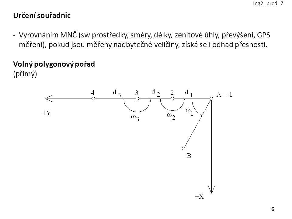 Určení souřadnic -Vyrovnáním MNČ (sw prostředky, směry, délky, zenitové úhly, převýšení, GPS měření), pokud jsou měřeny nadbytečné veličiny, získá se