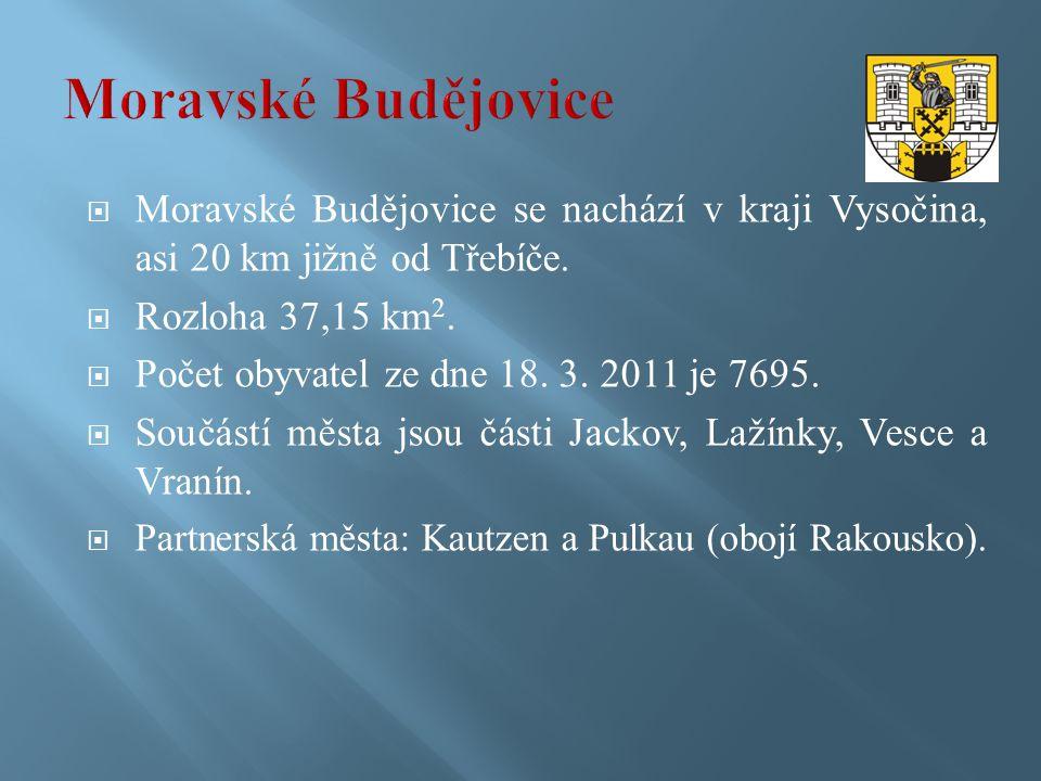  Moravské Budějovice se nachází v kraji Vysočina, asi 20 km jižně od Třebíče.