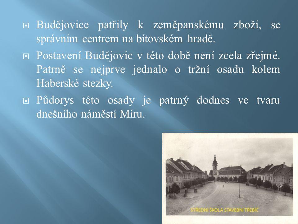  Budějovice patřily k zeměpanskému zboží, se správním centrem na bítovském hradě.