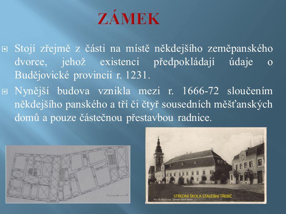  Stojí zřejmě z části na místě někdejšího zeměpanského dvorce, jehož existenci předpokládají údaje o Budějovické provincii r.