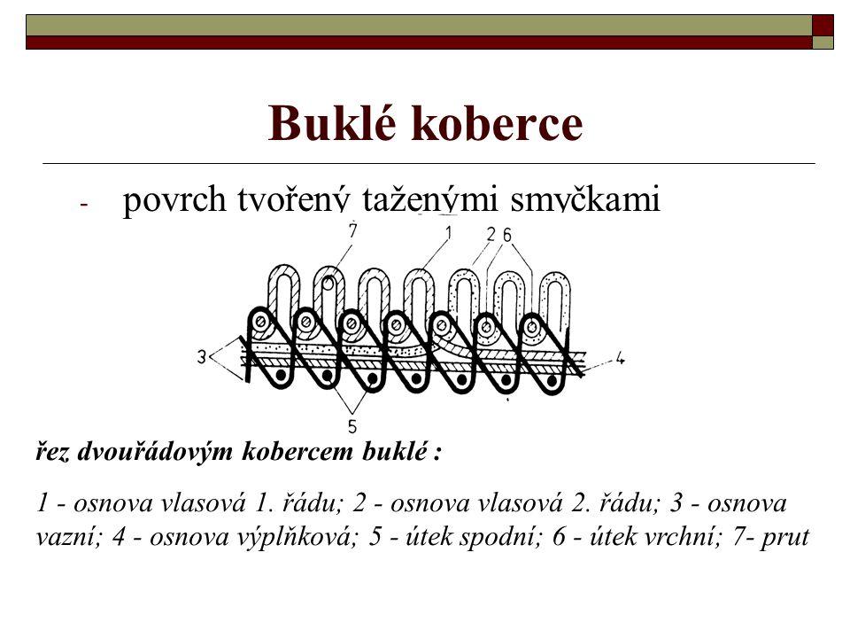 Koberce tkané prutovou technikou dvouřádový buklé velurový
