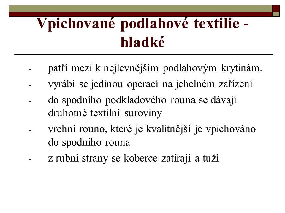 Vpichované podlahové textilie řez textilií vytvořené vidličkovou vpichovací jehlou řez vpichovanou textilií  Hladké  Smyčkové