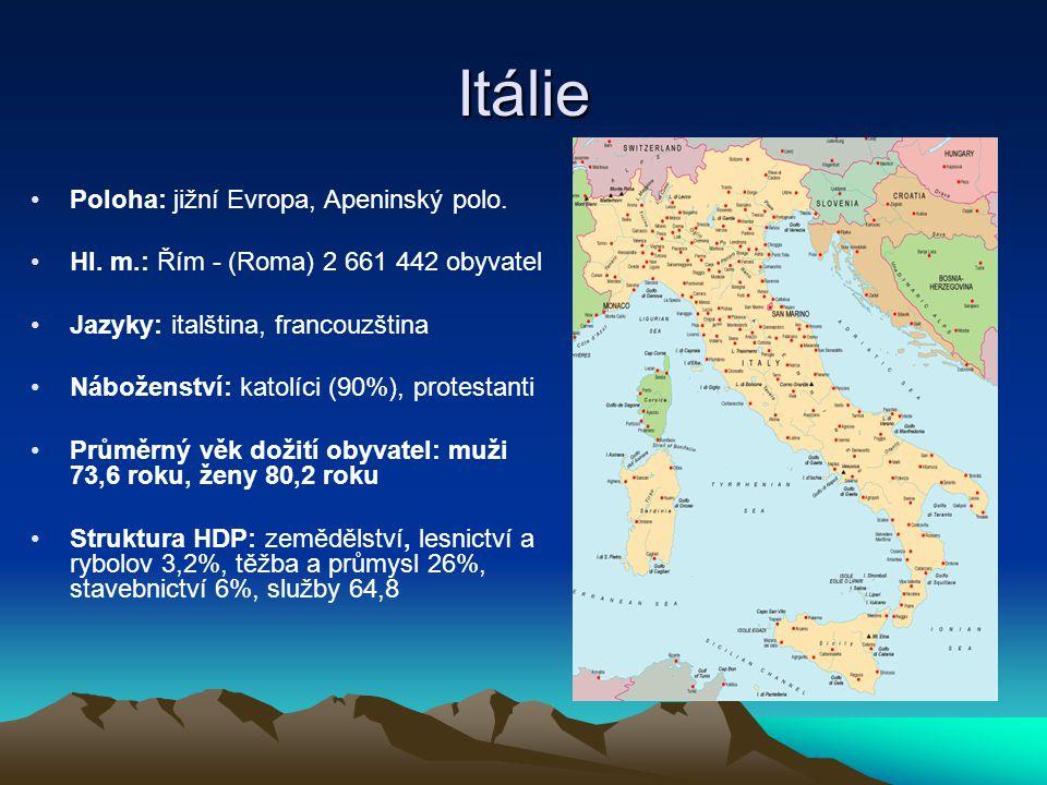 Itálie Poloha: jižní Evropa, Apeninský polo. Hl. m.: Řím - (Roma) 2 661 442 obyvatel Jazyky: italština, francouzština Náboženství: katolíci (90%), pro