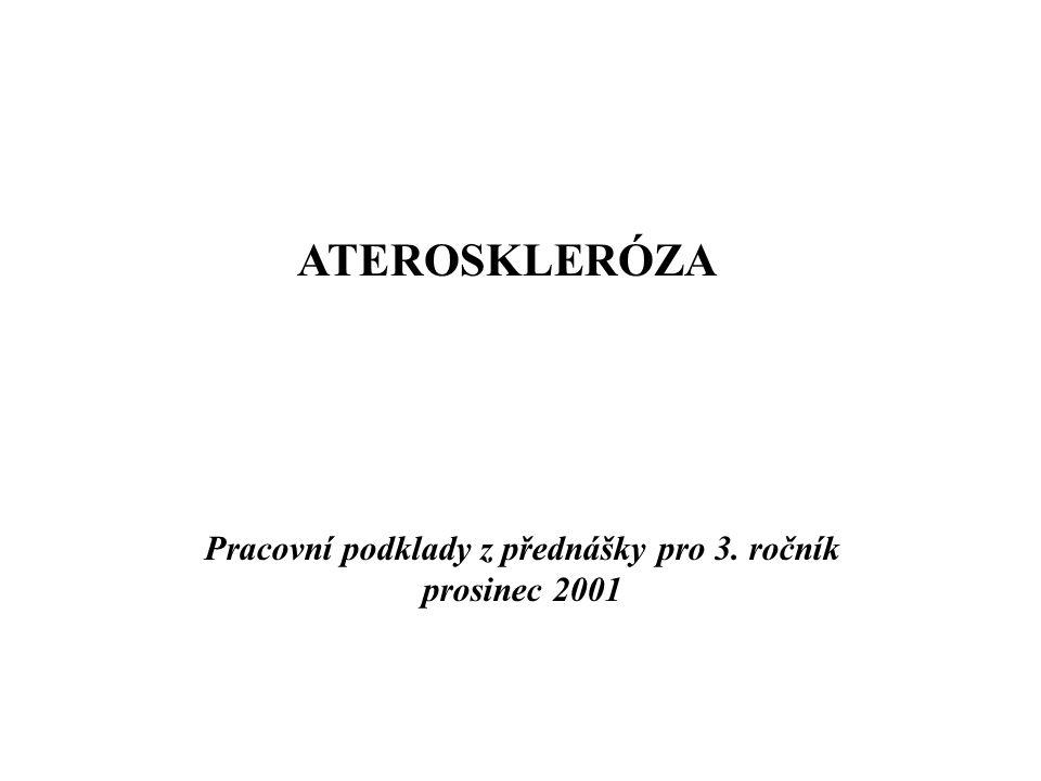 ATEROSKLERÓZA Pracovní podklady z přednášky pro 3. ročník prosinec 2001