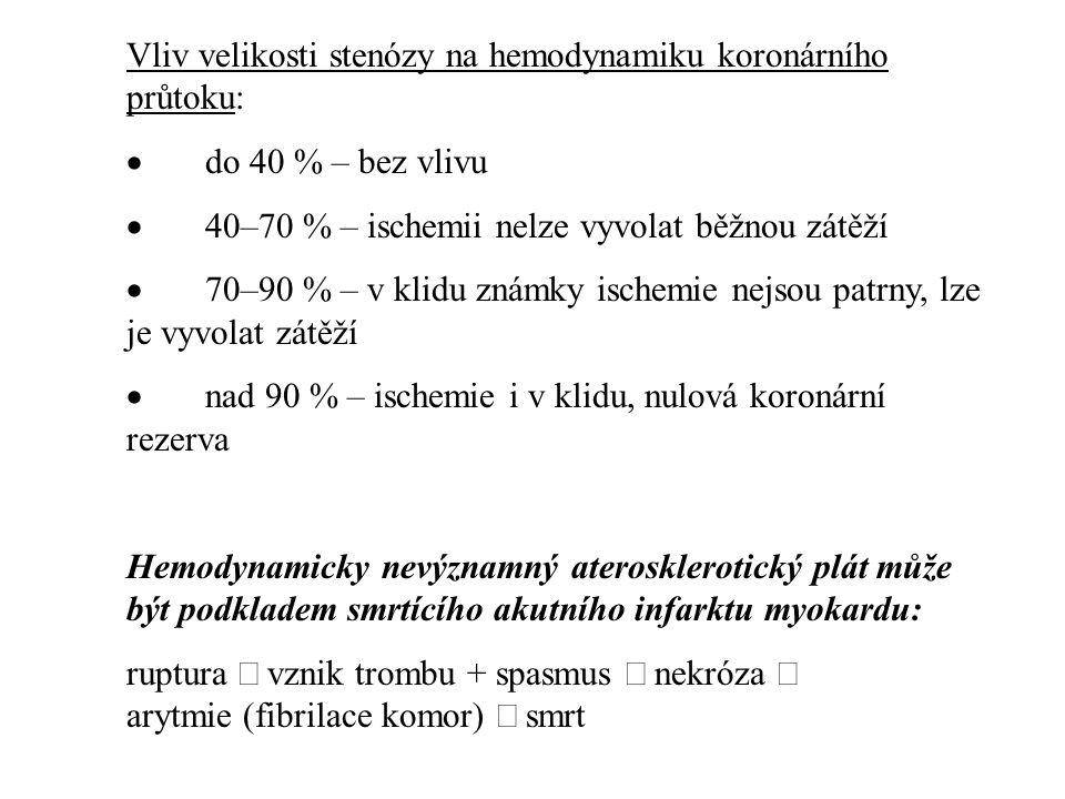 Vliv velikosti stenózy na hemodynamiku koronárního průtoku:  do 40 % – bez vlivu  40–70 % – ischemii nelze vyvolat běžnou zátěží  70–90 % – v klidu