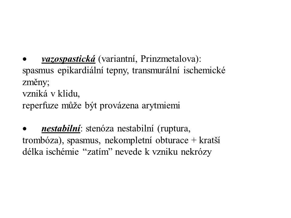  vazospastická (variantní, Prinzmetalova): spasmus epikardiální tepny, transmurální ischemické změny; vzniká v klidu, reperfuze může být provázena ar