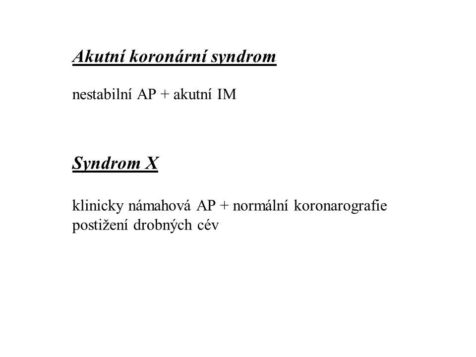 Akutní koronární syndrom nestabilní AP + akutní IM Syndrom X klinicky námahová AP + normální koronarografie postižení drobných cév