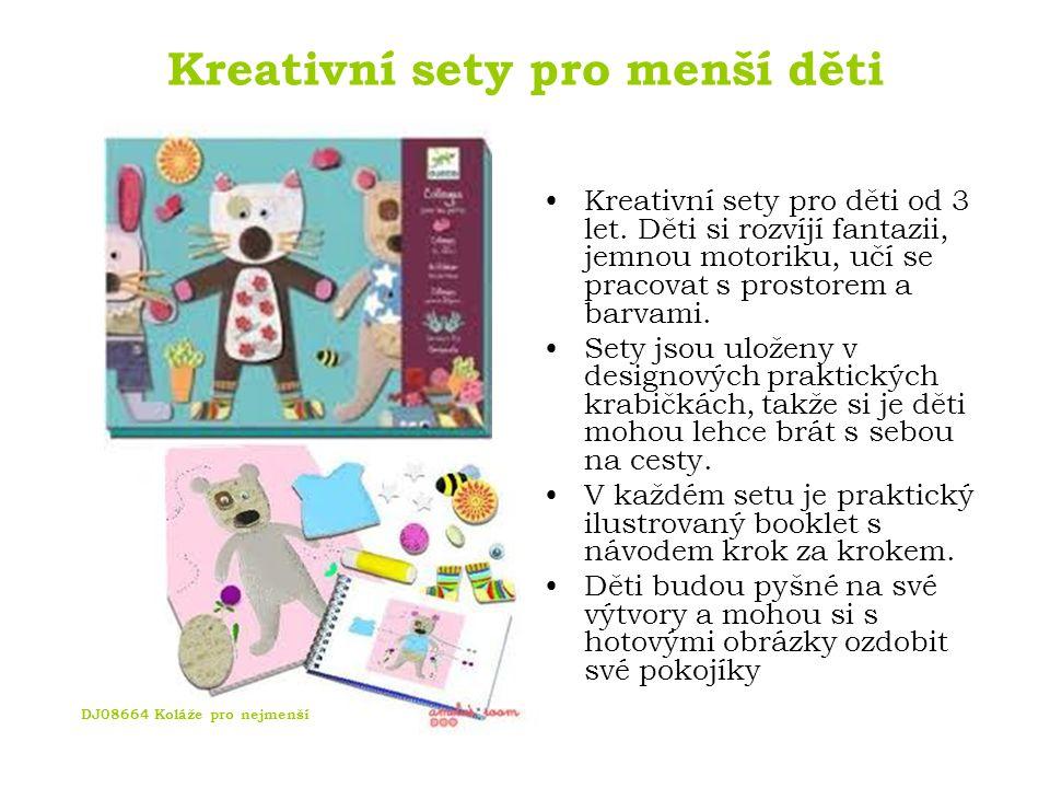 Kreativní sety pro menší děti DJ08910 Modelínový set DJ08666 Koláž Zvířátka DJ08901 Malování prstíky DJ08970 Pohyblivá zvířátka
