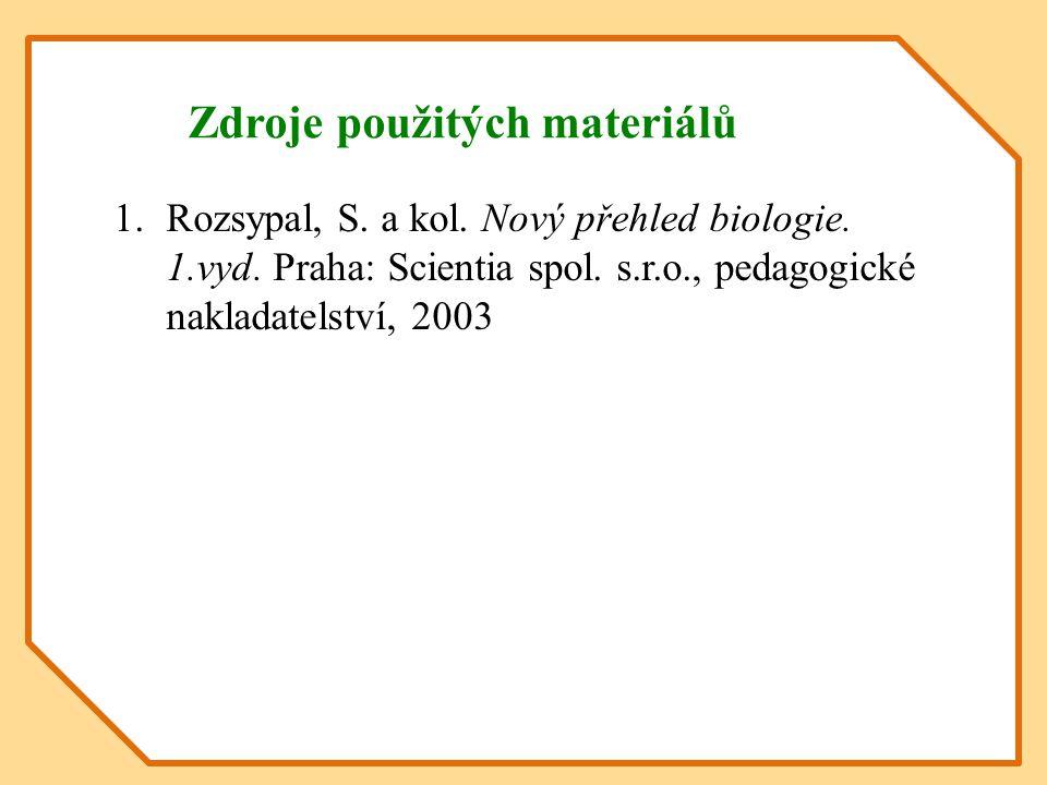 Zdroje použitých materiálů 1.Rozsypal, S. a kol. Nový přehled biologie. 1.vyd. Praha: Scientia spol. s.r.o., pedagogické nakladatelství, 2003