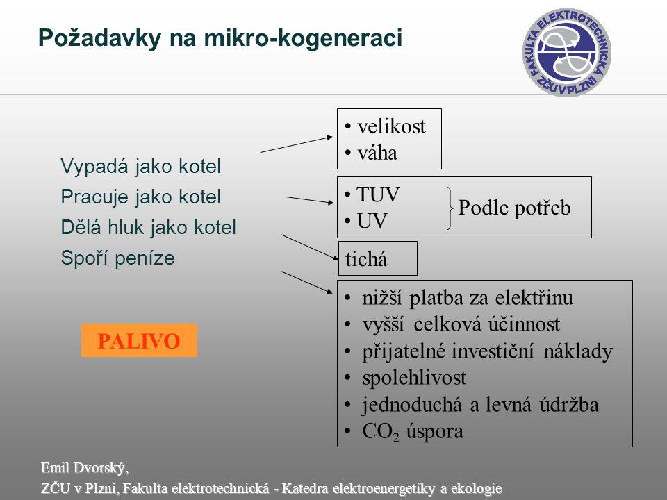 Emil Dvorský, ZČU v Plzni, Fakulta elektrotechnická - Katedra elektroenergetiky a ekologie Požadavky na mikro-kogeneraci Vypadá jako kotel Pracuje jak