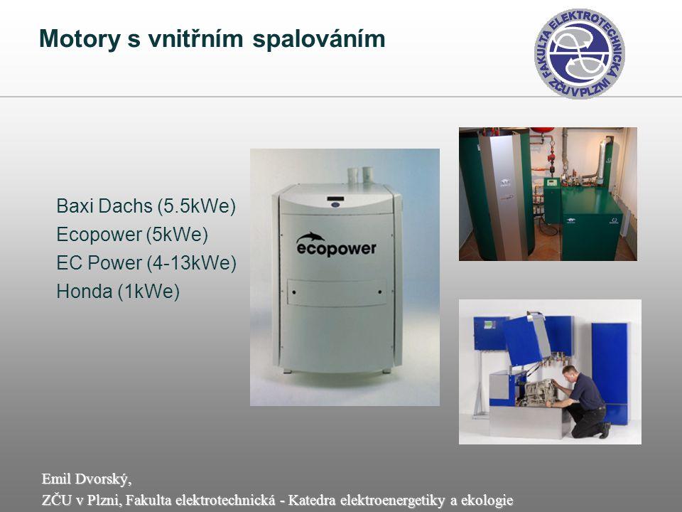 Emil Dvorský, ZČU v Plzni, Fakulta elektrotechnická - Katedra elektroenergetiky a ekologie Motory s vnitřním spalováním Baxi Dachs (5.5kWe) Ecopower (