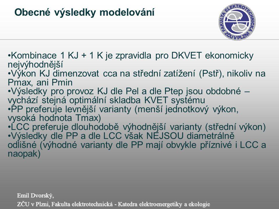 Emil Dvorský, ZČU v Plzni, Fakulta elektrotechnická - Katedra elektroenergetiky a ekologie Obecné výsledky modelování Kombinace 1 KJ + 1 K je zpravidl