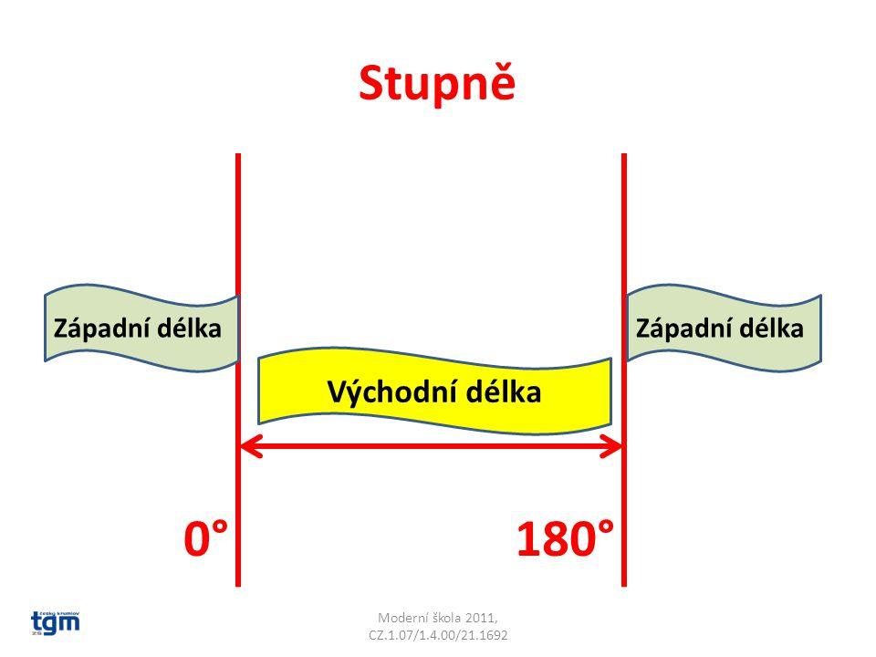 Stupně Moderní škola 2011, CZ.1.07/1.4.00/21.1692 0°180° Východní délka Západní délka