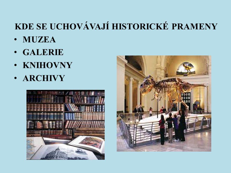 KDE SE UCHOVÁVAJÍ HISTORICKÉ PRAMENY MUZEA GALERIE KNIHOVNY ARCHIVY