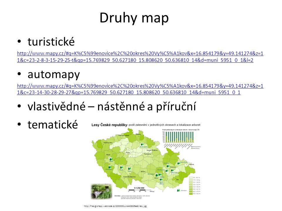 Druhy map turistické http://www.mapy.cz/#q=K%C5%99enovice%2C%20okres%20Vy%C5%A1kov&x=16.854179&y=49.141274&z=1 1&c=23-2-8-3-15-29-25-t&qp=15.769829_50