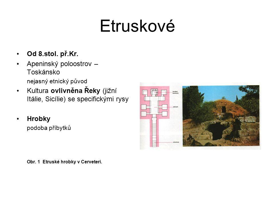 Etruskové Hrobky četné nálezy nádob, šperků… Nástěnné malby Motivy: rozpustilé, veselé, scény taneční, hudební, hodokvasy – měly zpříjemňovat posmrtný život Obr.