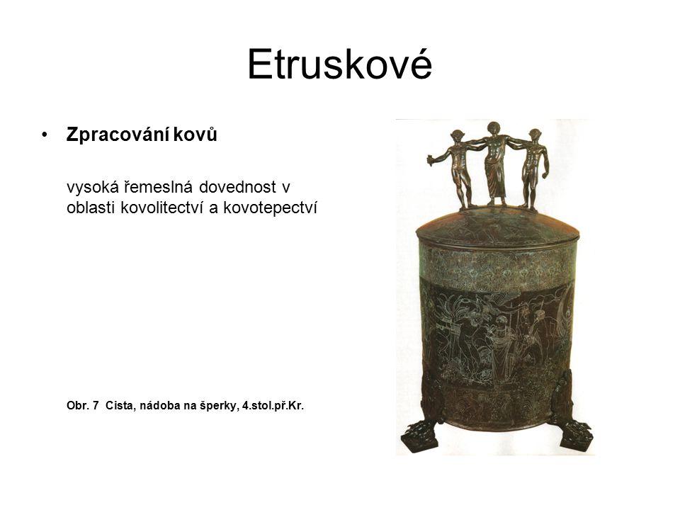 Etruskové Zpracování kovů vysoká řemeslná dovednost v oblasti kovolitectví a kovotepectví Obr. 7 Cista, nádoba na šperky, 4.stol.př.Kr.