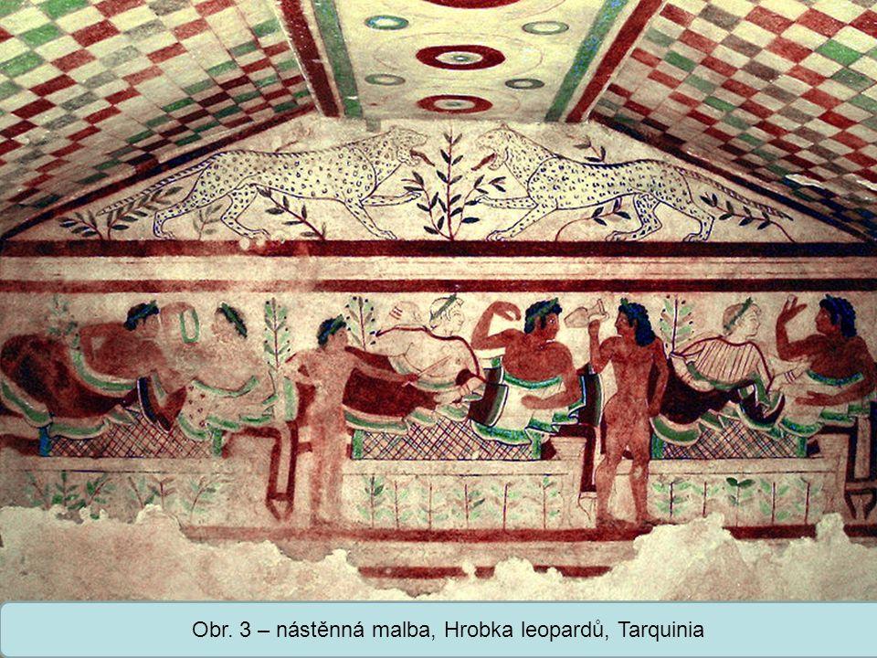 Střední škola Oselce Obr. 3 – nástěnná malba, Hrobka leopardů, Tarquinia