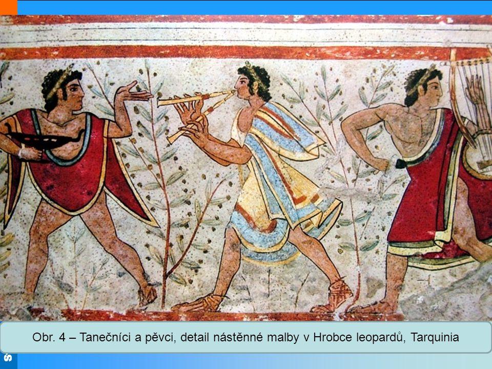 Střední škola Oselce Obr. 4 – Tanečníci a pěvci, detail nástěnné malby v Hrobce leopardů, Tarquinia