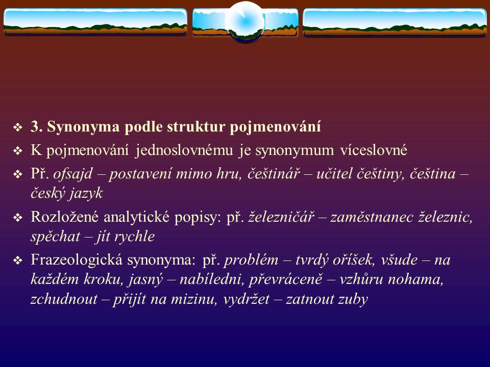 3. Synonyma podle struktur pojmenování  K pojmenování jednoslovnému je synonymum víceslovné  Př. ofsajd – postavení mimo hru, češtinář – učitel če
