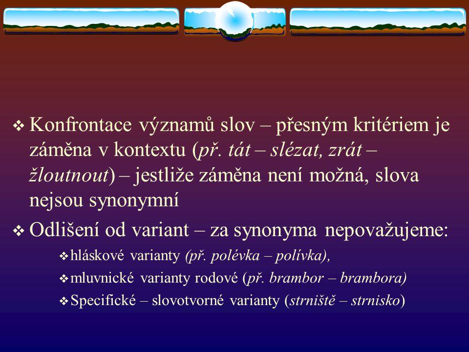  TAUTONYMA  synonyma nářeční nebo slangová – pouze z hlediska národního jazyka  Shodná pojmenování různých jazykových útvarů – za synonyma je nepovažujeme  Př.