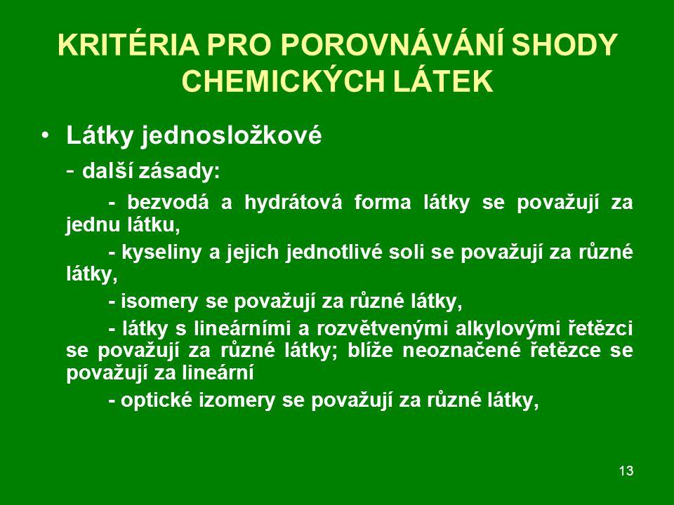 13 KRITÉRIA PRO POROVNÁVÁNÍ SHODY CHEMICKÝCH LÁTEK Látky jednosložkové - další zásady: - bezvodá a hydrátová forma látky se považují za jednu látku, - kyseliny a jejich jednotlivé soli se považují za různé látky, - isomery se považují za různé látky, - látky s lineárními a rozvětvenými alkylovými řetězci se považují za různé látky; blíže neoznačené řetězce se považují za lineární - optické izomery se považují za různé látky,