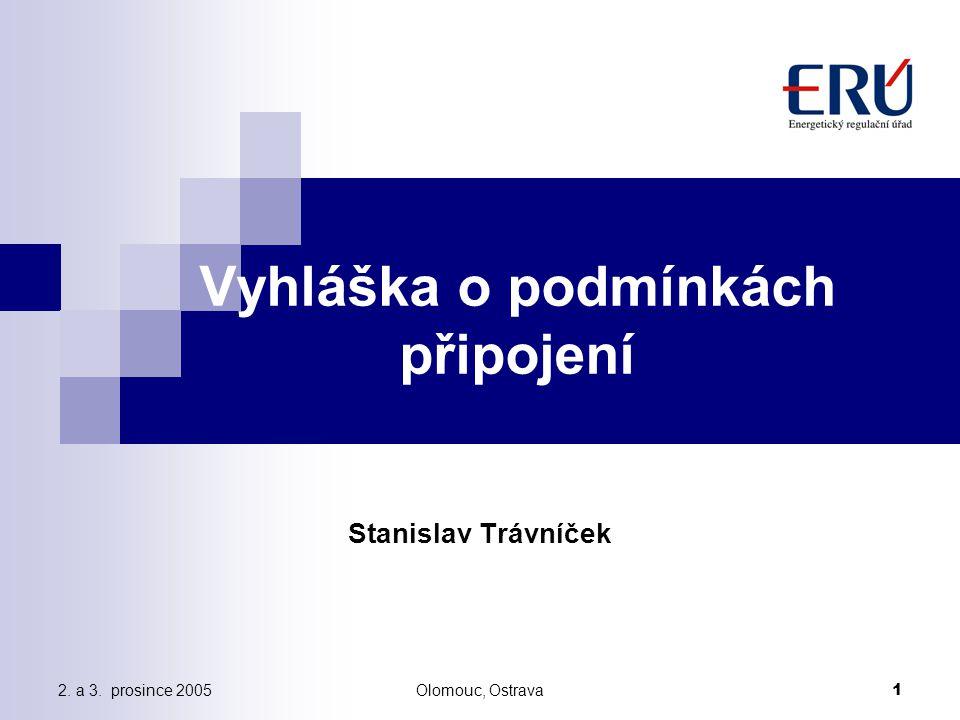 2. a 3. prosince 2005Olomouc, Ostrava 1 Vyhláška o podmínkách připojení Stanislav Trávníček
