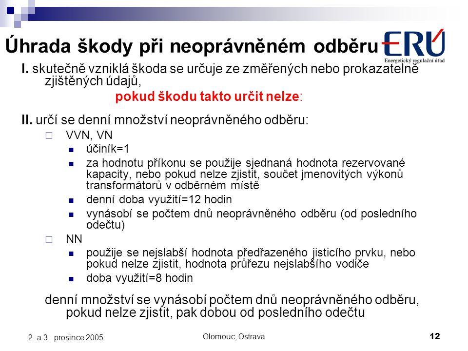 Olomouc, Ostrava12 2. a 3. prosince 2005 Úhrada škody při neoprávněném odběru I. skutečně vzniklá škoda se určuje ze změřených nebo prokazatelně zjišt