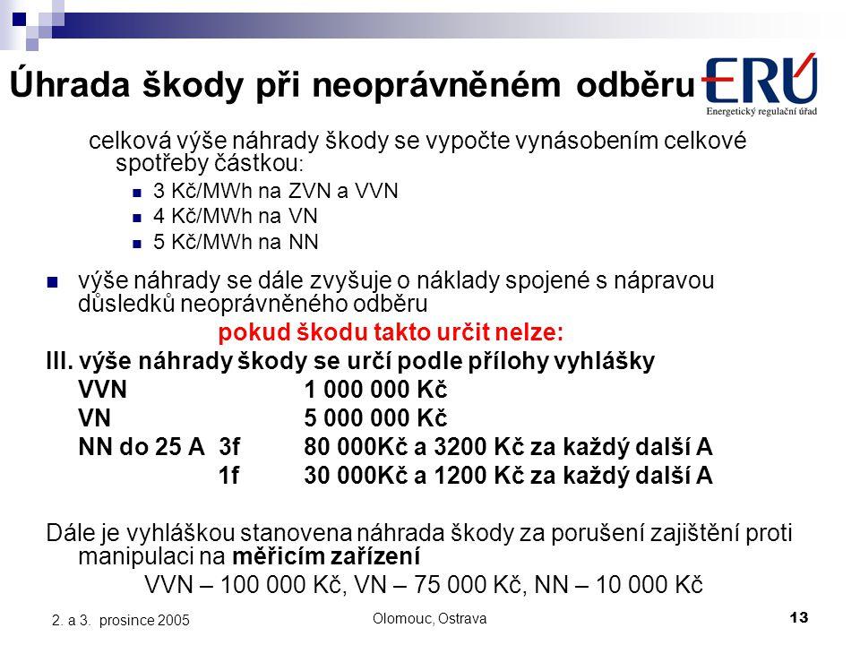 Olomouc, Ostrava13 2. a 3. prosince 2005 Úhrada škody při neoprávněném odběru celková výše náhrady škody se vypočte vynásobením celkové spotřeby částk