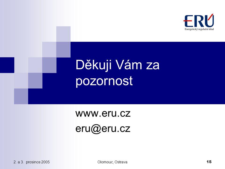 2. a 3. prosince 2005Olomouc, Ostrava 15 Děkuji Vám za pozornost www.eru.cz eru@eru.cz