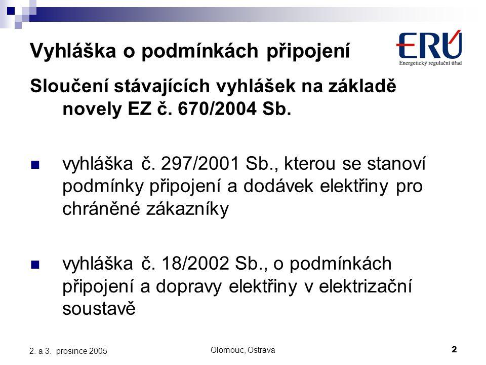 Olomouc, Ostrava2 2. a 3. prosince 2005 Vyhláška o podmínkách připojení Sloučení stávajících vyhlášek na základě novely EZ č. 670/2004 Sb. vyhláška č.