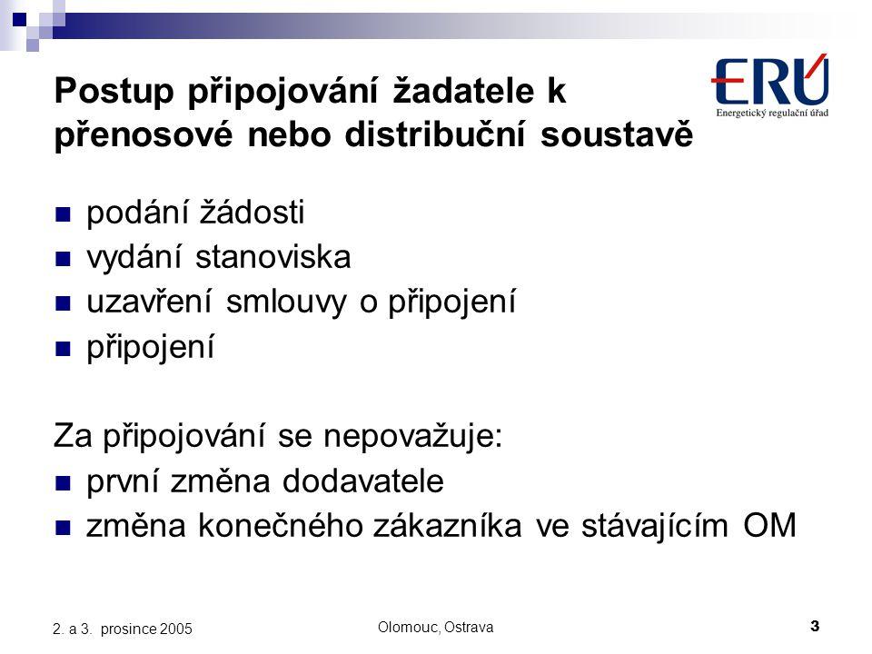 Olomouc, Ostrava3 2. a 3. prosince 2005 Postup připojování žadatele k přenosové nebo distribuční soustavě podání žádosti vydání stanoviska uzavření sm