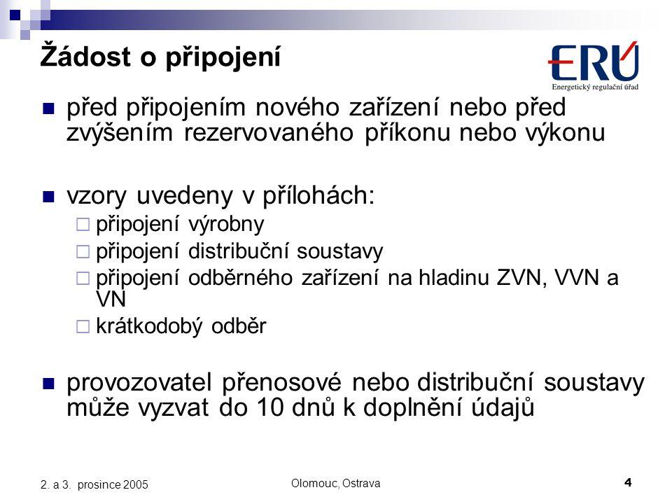 Olomouc, Ostrava4 2. a 3. prosince 2005 Žádost o připojení před připojením nového zařízení nebo před zvýšením rezervovaného příkonu nebo výkonu vzory