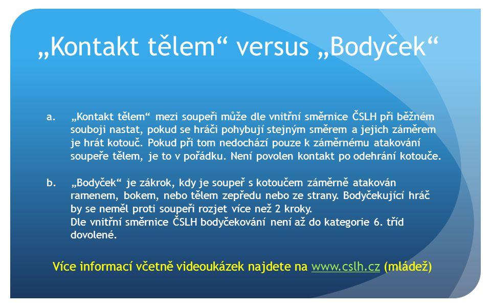 """""""Kontakt tělem versus """"Bodyček a.""""Kontakt tělem mezi soupeři může dle vnitřní směrnice ČSLH při běžném souboji nastat, pokud se hráči pohybují stejným směrem a jejich záměrem je hrát kotouč."""