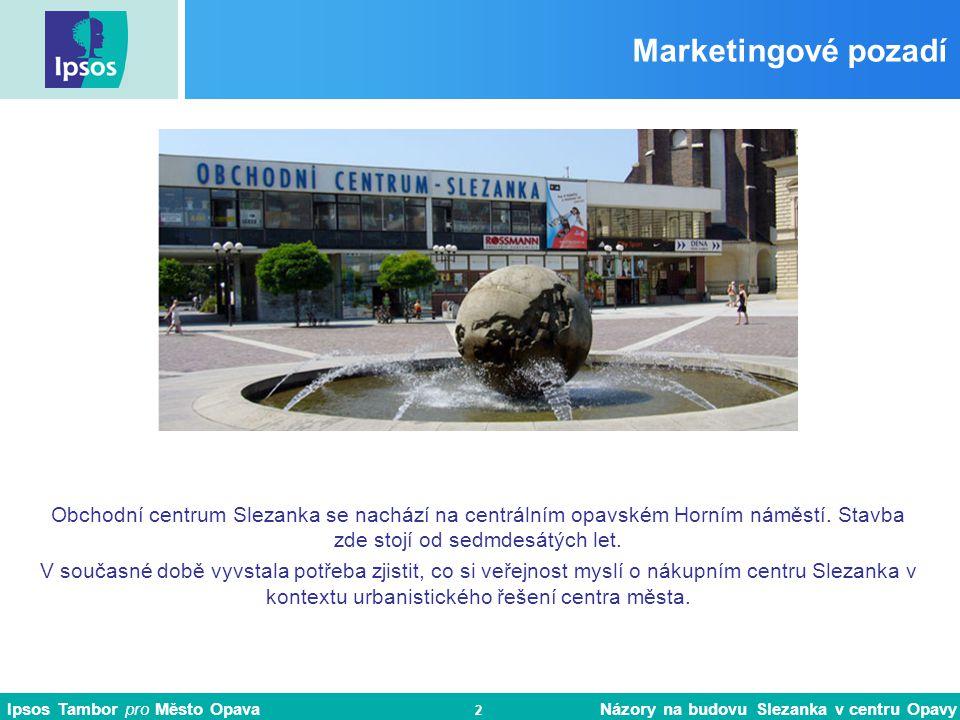 Ipsos Tambor pro Město Opava Názory na budovu Slezanka v centru Opavy 3 Cíle výzkumu Hlavním cílem výzkumu bylo zjištění názorů opavské veřejnosti na nákupní centrum Slezanka v kontextu urbanistického řešení centra města.