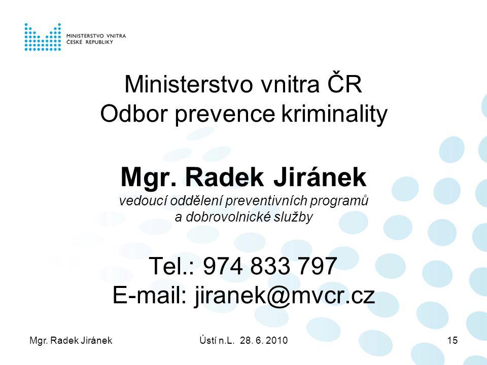 Mgr. Radek JiránekÚstí n.L. 28. 6. 201015 Ministerstvo vnitra ČR Odbor prevence kriminality Mgr.
